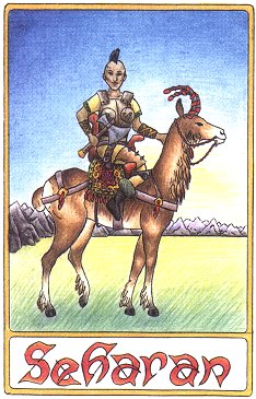 Seharan on her Nurai, drawn by Anja Odenthal